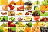 Colagem coloridas frutas sortidas — Fotografia Stock