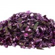 Heap of freshly cut red cabbage pieces — Stock Photo
