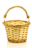 Empty wicker basket with handle — Stock Photo
