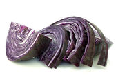 Slices of freshly cut red cabbage — Stock Photo
