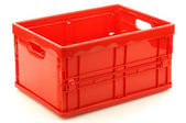 Foldable red plastic storage box — Stock Photo