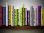 Books on shelf — Stock Vector