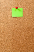 Notice Board, green note and pin — Stock Photo