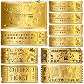 ゴールド チケット — ストックベクタ
