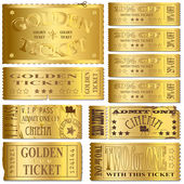 Gold Tickets — Vettoriale Stock