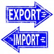 Import, Export Rubber Stamps — Stock Vector