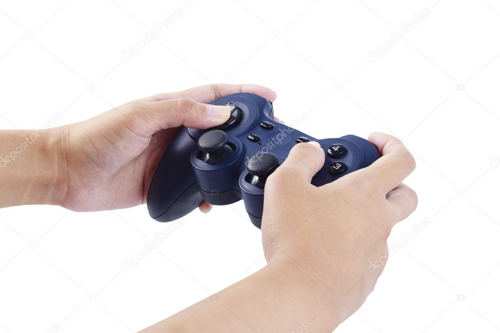 Play game with a joystick — Stock Photo #10738859