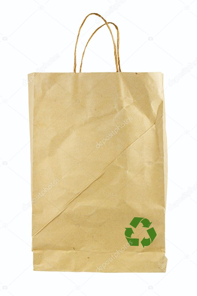 Reusable paper bag isolated on white background, conservation concept  Stock Photo #10928485