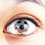 Soccer ball fire in the eye — Stock Photo