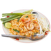 Thai food style , stir-fried rice noodles (Pad Thai) — Stock Photo