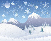 Christmas snow scene — Stock Vector
