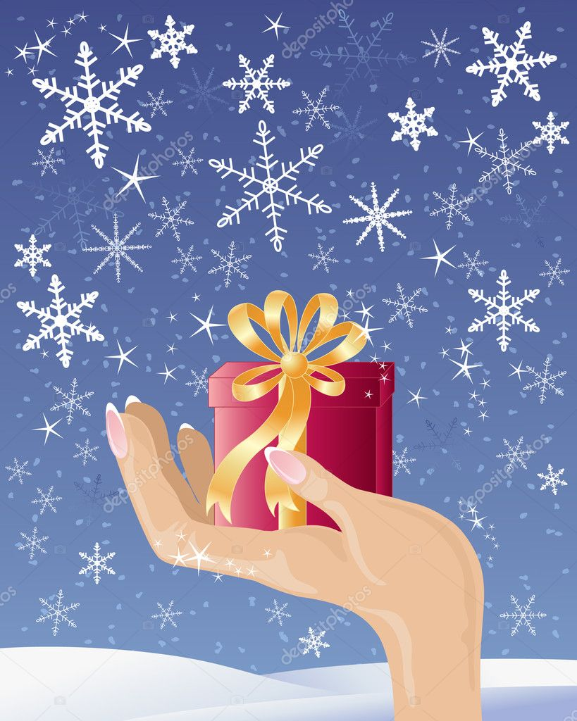 An illustration of a female hand holding a red and gold christmas gift under a dark sky with fancy snowflakes and stars — Stock Vector #11173609