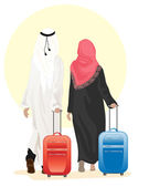 Arab couple with suitcase — Stock Vector