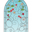 Stock Vector: Cherry window