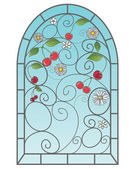 Cherry window — Stock Vector