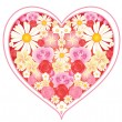 Floral love heart — Vector de stock