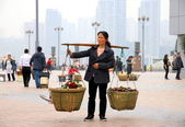 Chinese Woman Carrying Baskets — Stock Photo