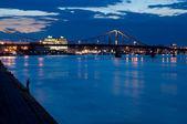 Foot bridge cross the Dniper — Stock Photo