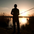 The fisherman fishes on a sunset — Stock Photo