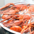 Crawfish cooking in a large pot - Stock Photo