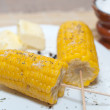 Boiled corn with butter and solt — Stockfoto