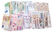 Currencies, worldwide money, banknotes, exchange rate — Stock Photo
