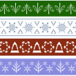 Collection of seamless Christmas Borders — Stock Vector