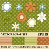 Vector scrap set of paper-cur flowers and seamless patterns — Stock Vector