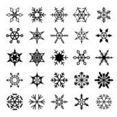 Conjunto de copos de nieve decorativas — Vector de stock