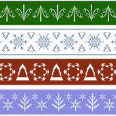 Collection of seamless Christmas Borders — Stockvektor