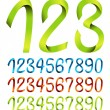 Stock Vector: Color sets of ribbon numbers