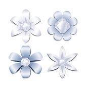Flores de diamantes, conjunto de elementos de diseño — Vector de stock