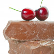 Chunk Chocolate With Cherries - Stock Photo