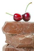 Chunk Chocolate With Cherries — Stock Photo