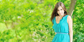 Beautiful lady outdoors - Copyspace image — Stock Photo