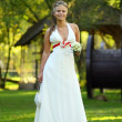Young beautiful bride outdoors - Full length portrait - Stock Photo
