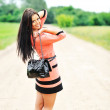 Beautiful woman with bag — Stock Photo #11291287