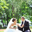 Stock Photo: Bride and groom sitting in a park - vertical copyspace image