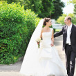 Bride and groom walking together — Stock Photo