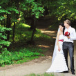 Bride and groom in a park — Stock Photo #12372331
