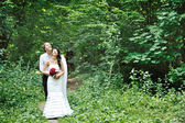 Wedding couple in a wood — Stock Photo