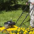 hombre con cortadora de césped amarillo — Foto de Stock