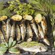 Fresh Mediterranean fishes on BBQ — Stock Photo #11618769