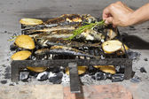 Fresh Mediterranean fishes on traditional BBQ — Stock Photo