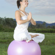 Cute womworking out with ball — Stock Photo #11727881