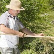 Stock Photo: Man removing grass from wooden rake