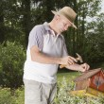 Smilling man fixing old bird house — Stock Photo