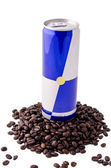 Energy drink and coffee beans (2) — Stock Photo