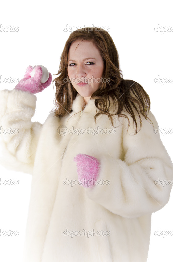 Young woman with snowball on over white. — Foto Stock #10844359