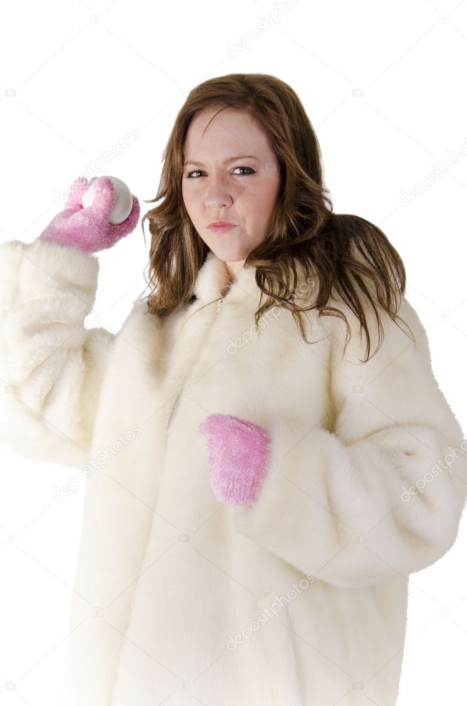 Young woman with snowball on over white. — Stockfoto #10844359